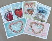 Six blank Valentine's Day greeting cards