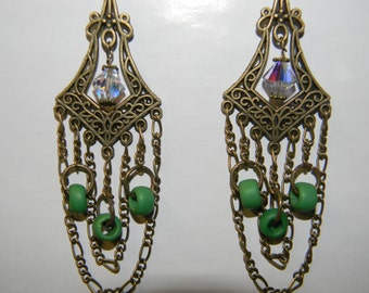 Romantic,Victorian, Boho, Gypsy, Antique Brass Chandelier Earrings