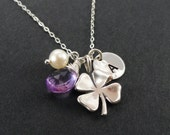 Lucky Necklace, Custom Initial & birthstone, Four Leaf Clover, pearl accent, sterling silver, Bridesmaid graduation Gift, Good Luck