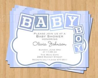 Sweet Blue Blocks Baby Boy Shower Invitations JPEG Cute Simply Adorable