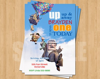 Up Pixar Movie Birthday Party Personalized Invitation .JPEG File Colorful Fun