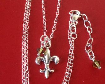 scout mom necklace sterling silver fleur de lis charm with swarovski drops