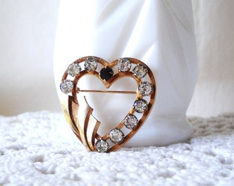 Vintage Brooch Vintage Rhinestone Pin Heart Pin Valentine's Day Mother's Jewelry
