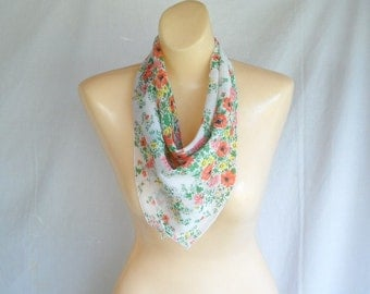Vintage Scarf Cotton Floral Scarf Flowered Scarf