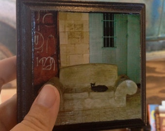 Black Cat Photo, wood panel