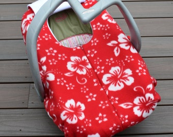 Hawaiian Car Seat Cover for Baby - Red Hibiscus Floral for Winter Infant