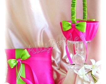 Hot pink fuchsia and lime green wedding ring bearer pillow and flower girl basket, wedding ring cushion and basket set.