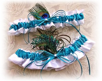 Peacock Feather Wedding Bridal Garter Set - Turquose Peacock Garters - Something Blue - Bridal Accessories