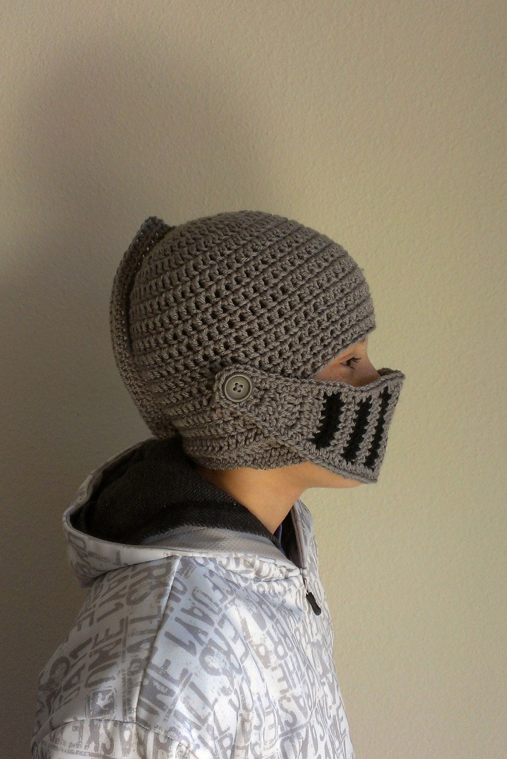 Knight Helmet Hat Crochet Stormy Medium Grey and by HoneysGoods