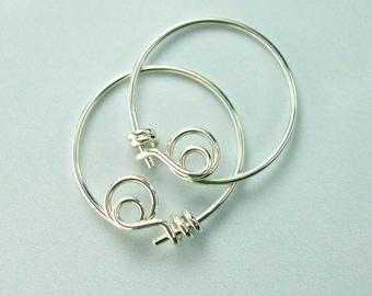 Sterling Silver Hoop Earrings, Tiny Handmade Silver Hoops, Unique Original Locking Hoop Design, Modern Hoop Earrings / gift under 30