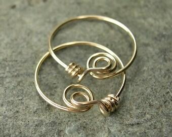 Tiny Gold-Filled Hoop Earrings, Handmade 14K Gold-Filled Hoops, Original Locking Hoop Design, Unique Modern Hoop Earrings / gift under 30