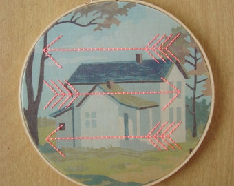 Embroidered Arrows on House Paint by Number Fabric Hoop