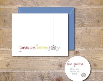 Christmas Card Set . Holiday Cards . Christmas Cards .  Holiday Greeting Cards - Christmas Joy