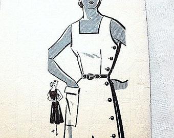 1950s Sundress Pattern Misses Size 16 UNCUT Vintage Sewing Pattern Womens Sun Dress Pattern Side Button Down Dress Square Neckline Dress