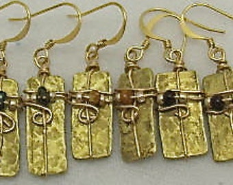 Vintage Brass Earrings - Brass Cymbol Earrings. Gold Colored Earrings.
