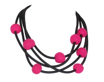 bright pink long necklace, stylish felt jewelry, edgy design