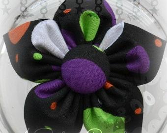 Halloween Dot Print Fabric Flower Bow