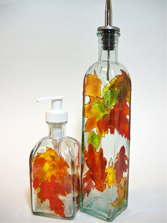 Autumn Leaves Olive Oil Bottle & Soap Dispenser Set  Hand Painted
