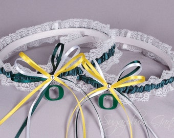 University of Oregon Ducks Lace Wedding Garter Set