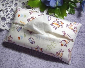 Cartoon Kitty Cat Fabric Tissue Case for Pocket Facial Tissues, Meow and I Love My Kitty Cat Words Print