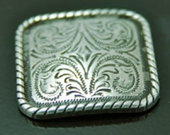 2 Silver Rectangle Belt Conchos, screwback, 2 each, N2133sm