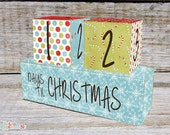 Christmas Advent Calendar, Christmas Count Down Wooden Blocks Blue Snowflake Design