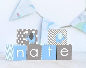 Chevron Elephant Name Blocks, Nursery Decor, Nursery Name Personalized Wooden Blocks