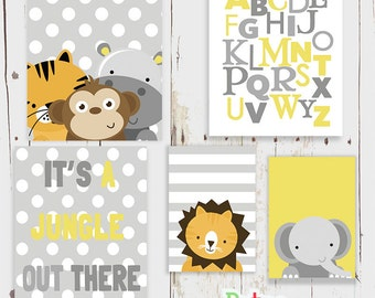 Yellow nursery art etsy for Babyzimmer grau gelb