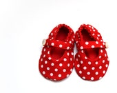MINNIE baby girl shoes, mary jane baby booties with soft sole