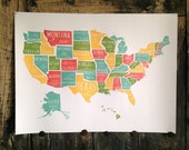 US Map letterpress print USA