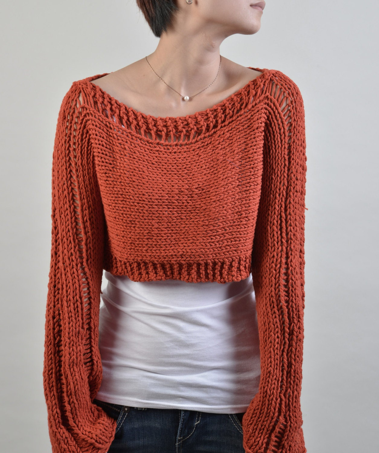 Hand knit woman sweater cropped cotton sweater Little cover up top ...