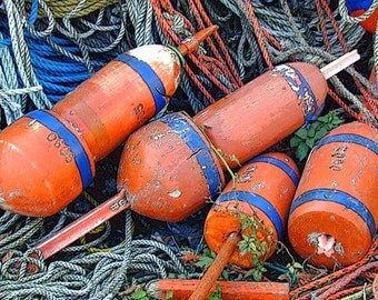 """ROCKPORT Orange Coral Colored Lobster Buoys T-Wharf Cape Ann. 8x10"""" Matted Print"""