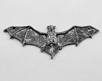 Flat bat medium, wings out, charm or pendant 2 bails Australian Pewter z225