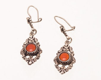 Carnelian Dangle Earrings - Sterling Hooks - Art Nouveau Era - Best Buy