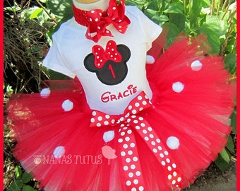 Red Hot  Minnie, Party Outfit,Silhouette,Number,  Minnie Mouse Birthday, Theme Parties,Personalized in Sizes  1yr thru 5yrs