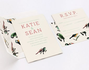 Wedding invitation - Bird Pattern Invitation set