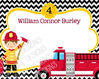 Printable Firetruck Fireman Thank You Cards -- Digital File Only