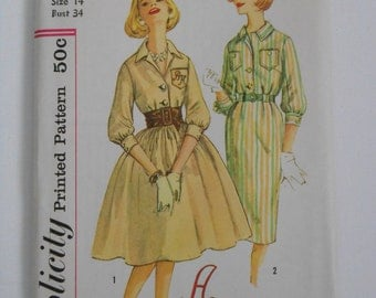 Vintage 60s Misses Front Button Slim or Full Skirt Dress Sewing Pattern Simplicity 3091 Size 14 Bust 34 UNCUT
