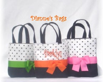 3 Black  Polka Dotted  Eve Size Monogrammed/Personalized Tote, Purse, Bridesmaid Gift