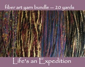 Fiber art yarn bundle 20 yards, purple blue plum gold black navy dark green sparkly cotton wool metallic variety pack novelty art yarn i711