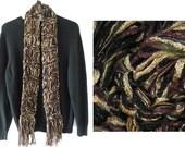 Men's scarf, hand knit silk soft merino wool black tan light brown gold plum beige green long warm winter fashion women i761a clearance sale