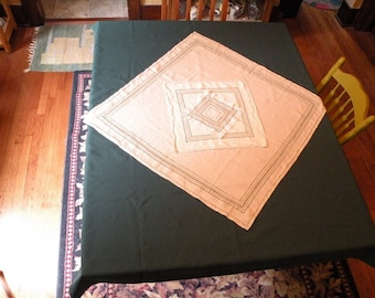 4 tablecloths / 4 napkins, Christmas St Patricks green rectangular beige square linens, kitchen dining room table holiday vintage tablecloth