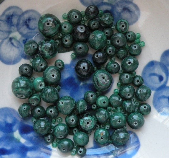 119 beads, 59 malachite, 60 green spacer beads from Africa, graduated rounds 12mm 10mm 8mm 6mm primitive tribal rustic imperfect handmade i5
