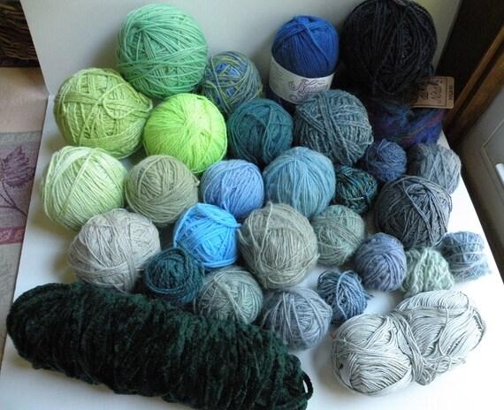 Yarn lot destash: wool cotton hand spun, dark green teal blue lime light green gray navy, worsted bulky dk sport fingering sock lace i655