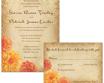 Dahlia Wedding Invitations and RSVP cards