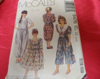 Vintage McCalls 5476 Dress and Jumpsuit Pattern Sizes 3,4,5