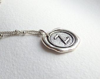 Antique Silver Wax Seal - Z - Monogram Necklace