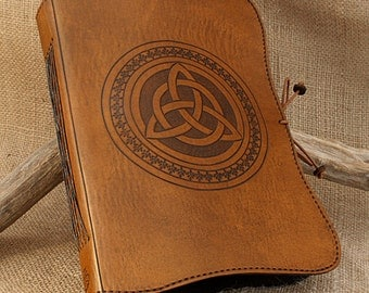 A5, Medium, Leather Bound Journal, Triquetra, Celtic Knot, Brown Leather, Celtic Journal, Leather Notebook, Book of Shadows, Personalized.