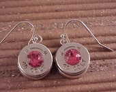 Bullet Earrings 45 Colt Brass Shell Indian Pink Swarovski Crystal - Free Shipping to USA