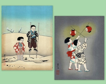 Vintage - 2 Japanese watercolor and ink paintings.  Wonderful images.  ~ FREE SHIPPING ~ on SALE!